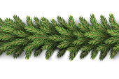 A realistic, detailed New Year's garland made of pine tree branches to create postcards, banners for the siteRealistic xmas decoration elements.