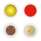 Realistic Detailed Sauces in Plate Set