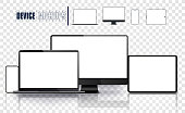 Realistic device set: pc, monitor laptop, tablet and phone template. Electronic and devices related line icon set. Vector illustration