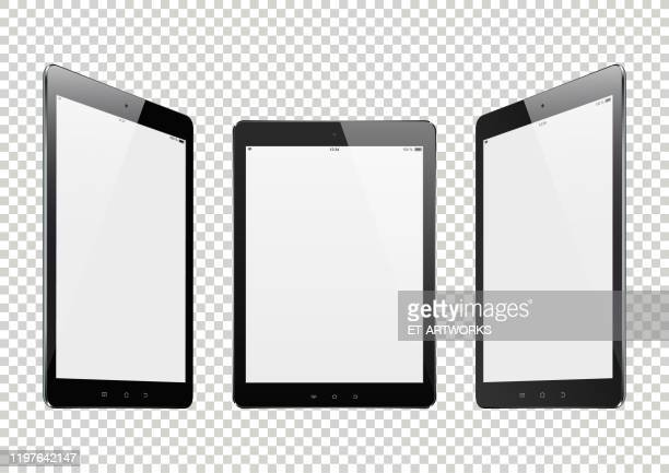 realistic digital tablets - retail display stock illustrations