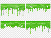 Realistic dripping slime. Seamless green stain of drippings poison drops. Mucus drip drop 3D realistic vector illustration