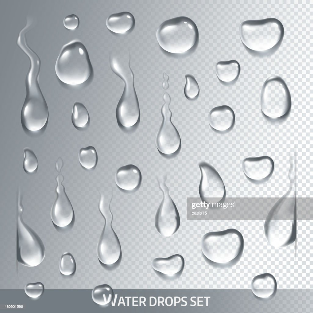 Realistic drops pure, clear water on light gray background