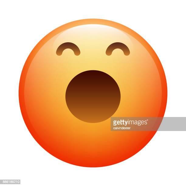 stockillustraties, clipart, cartoons en iconen met realistische emoji - yawning