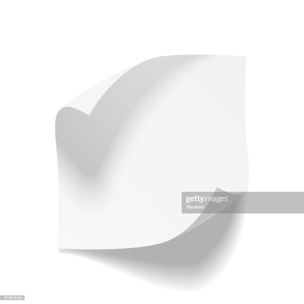 Realistic empty bend paper Sheet