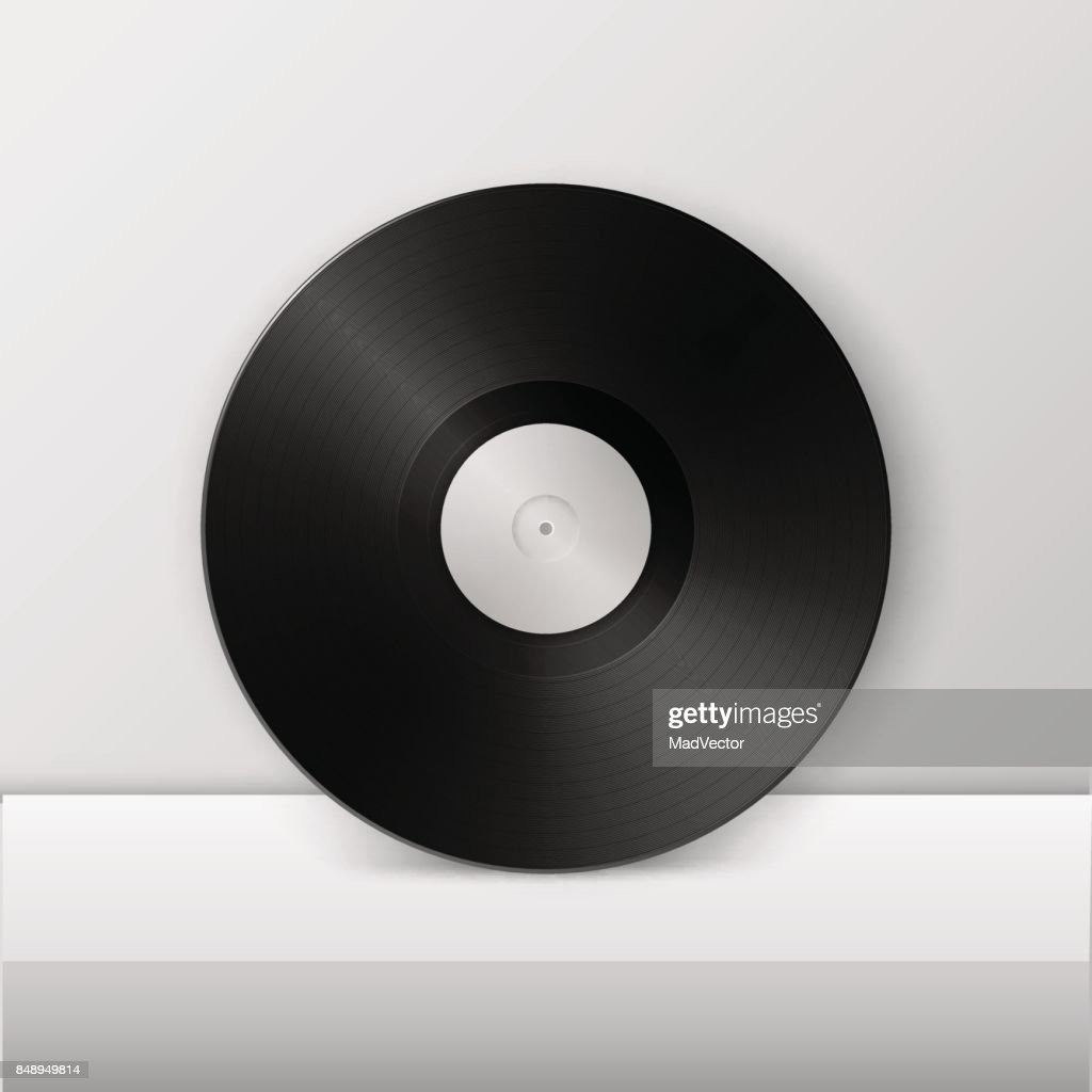 Realistic empty music gramophone vinyl LP record icon closeup on white table or stand. Design template of retro long play for advertising, branding, mockup. Stock vector. EPS10