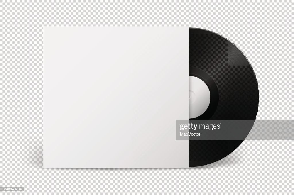 Realistic empty music gramophone vinyl LP record with cover icon closeup isolated on transparent background. Design template of retro long play for advertising, branding, mockup. Stock vector. EPS10