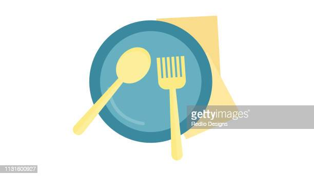 Realistic empty vector plate with spoon knife and fork isolated Icon