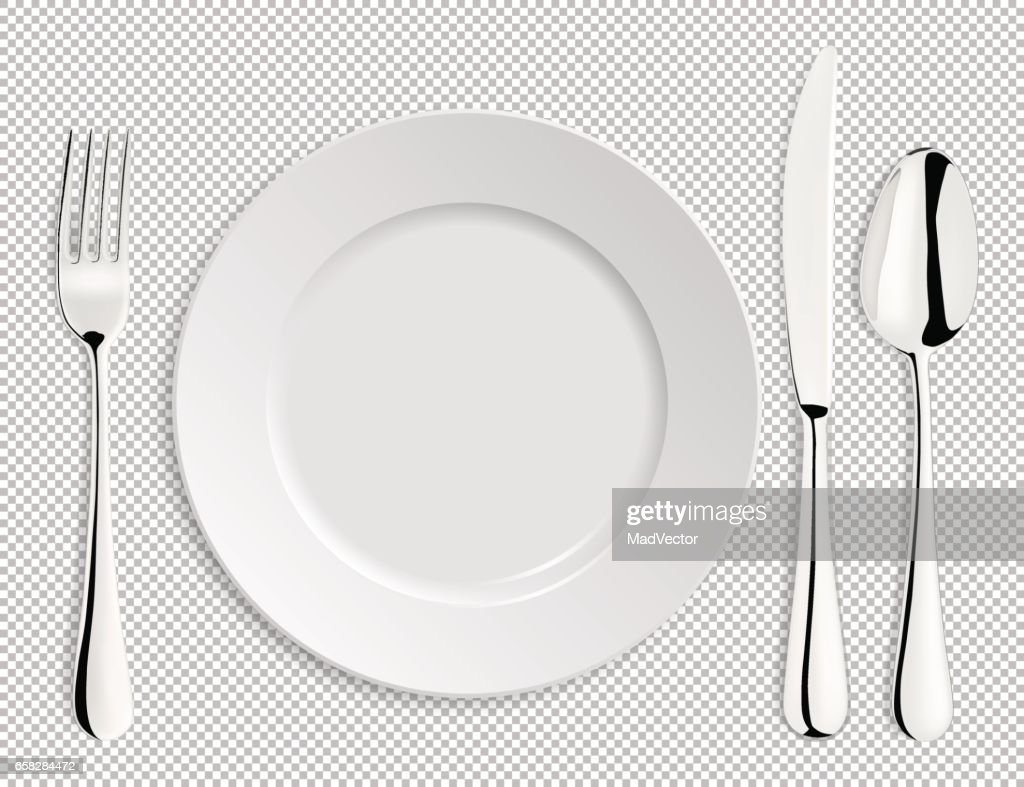 Realistic empty vector plate with spoon, knife and fork isolated. Design template in EPS10