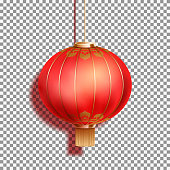 Realistic Festive Chinese red lantern