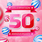 Realistic Fifty 50 Years Anniversary Celebration design banner. Pink numbers and pink ribbons, balloons on pink background. Colorful Vector template elements for your birthday party