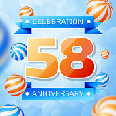 Realistic Fifty eight Years Anniversary Celebration design banner. Gold numbers and blue ribbons, balloons on blue background. Colorful Vector template elements for your birthday party