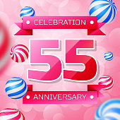 Realistic Fifty five 55 Years Anniversary Celebration design banner. Pink numbers and pink ribbons, balloons on pink background. Colorful Vector template elements for your birthday party