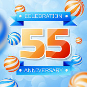 Realistic Fifty five Years Anniversary Celebration design banner. Gold numbers and blue ribbons, balloons on blue background. Colorful Vector template elements for your birthday party