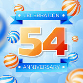 Realistic Fifty four Years Anniversary Celebration design banner. Gold numbers and blue ribbons, balloons on blue background. Colorful Vector template elements for your birthday party
