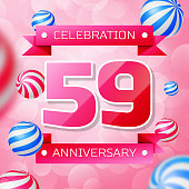Realistic Fifty nine 59 Years Anniversary Celebration design banner. Pink numbers and pink ribbons, balloons on pink background. Colorful Vector template elements for your birthday party