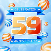 Realistic Fifty nine Years Anniversary Celebration design banner. Gold numbers and blue ribbons, balloons on blue background. Colorful Vector template elements for your birthday party