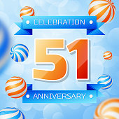 Realistic Fifty one Years Anniversary Celebration design banner. Gold numbers and blue ribbons, balloons on blue background. Colorful Vector template elements for your birthday party