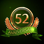 Realistic Fifty two Years Anniversary Celebration Design with Golden Ring and Laurel Wreath, green ribbon on green background. Colorful Vector template elements for your birthday celebrating party