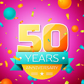 Realistic Fifty Years Anniversary Celebration design banner. Gold numbers and cyan ribbon, balloons, confetti on pink background. Colorful Vector template elements for your birthday party