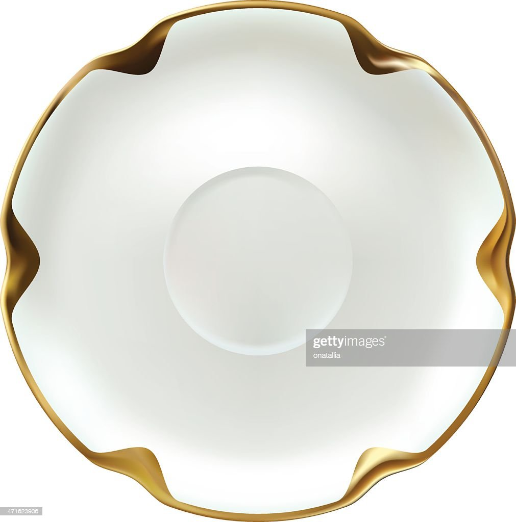 Realistic fine china white saucer with gold rim