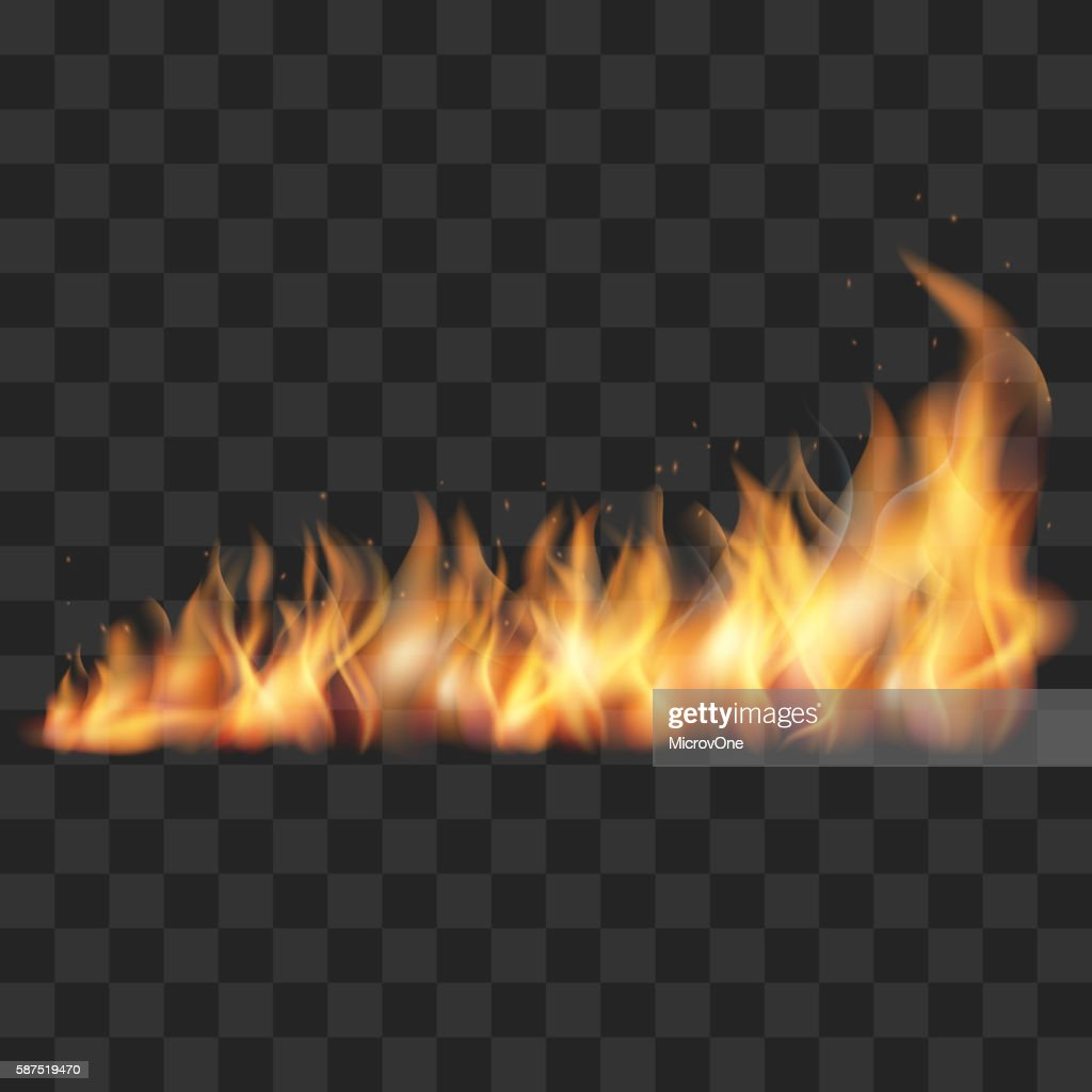 Realistic fire trail vector illustration
