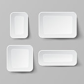 Realistic Food Container Set Vector. Empty Plastic Food Square Container. Good For Package Design. Empty Mock Up Vector Illustration