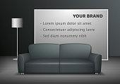 Realistic furniture advertisment banner mock up.