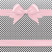 Realistic gift bow pink, isolated on background.