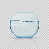 Realistic glass fishbowl, aquarium with water on transparent background