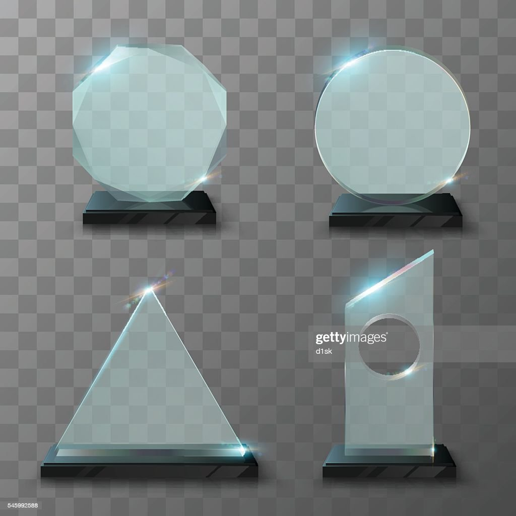 Realistic glass trophy awards