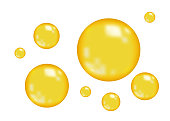 Realistic  glossy gold  bubbles.
