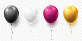 Realistic glossy golden, purple, black and white balloon vector illustration on transparent background. Balloons for Birthday, festive occasions, parties, weddings. Festival romantic decorations