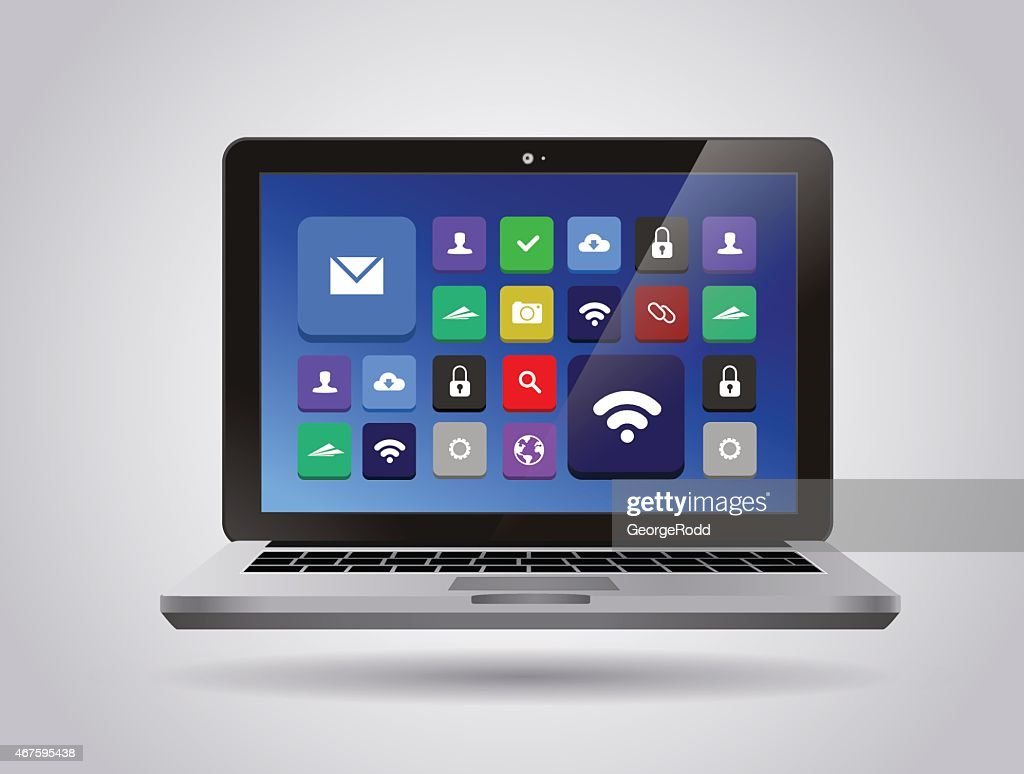 Realistic glossy tablet PC Isolated with apps icons. Vector Illustration.
