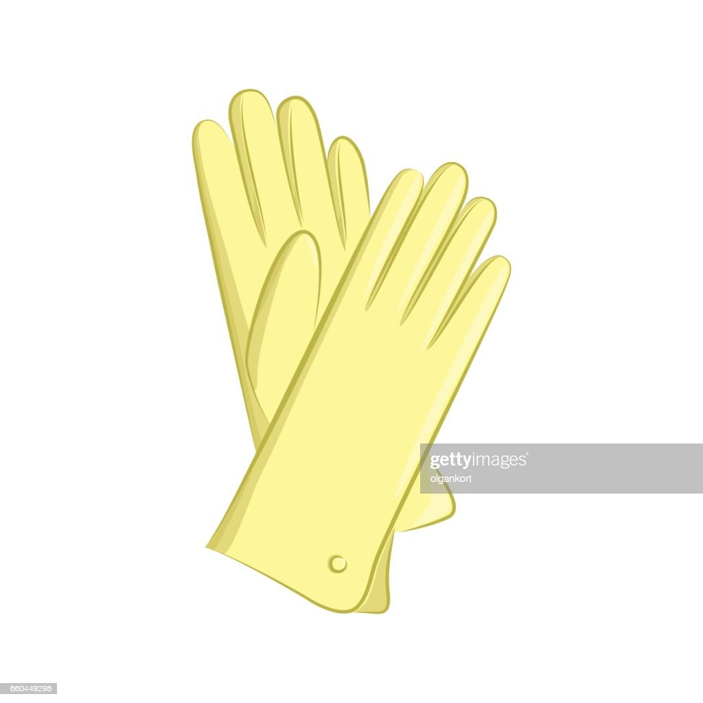 Realistic gloves. Women s fashion accessories. The yellow object isolated on white background. Vector cartoon illustration in hand drawing style for your design.