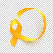 Realistic gold ribbon. World childhood cancer awareness symbol, vector illustration.