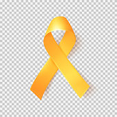 Realistic gold ribbon. World childhood cancer symbol 15th of february.