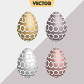 Realistic gold, silver Easter eggs circles