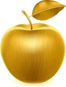 Realistic golden apple.
