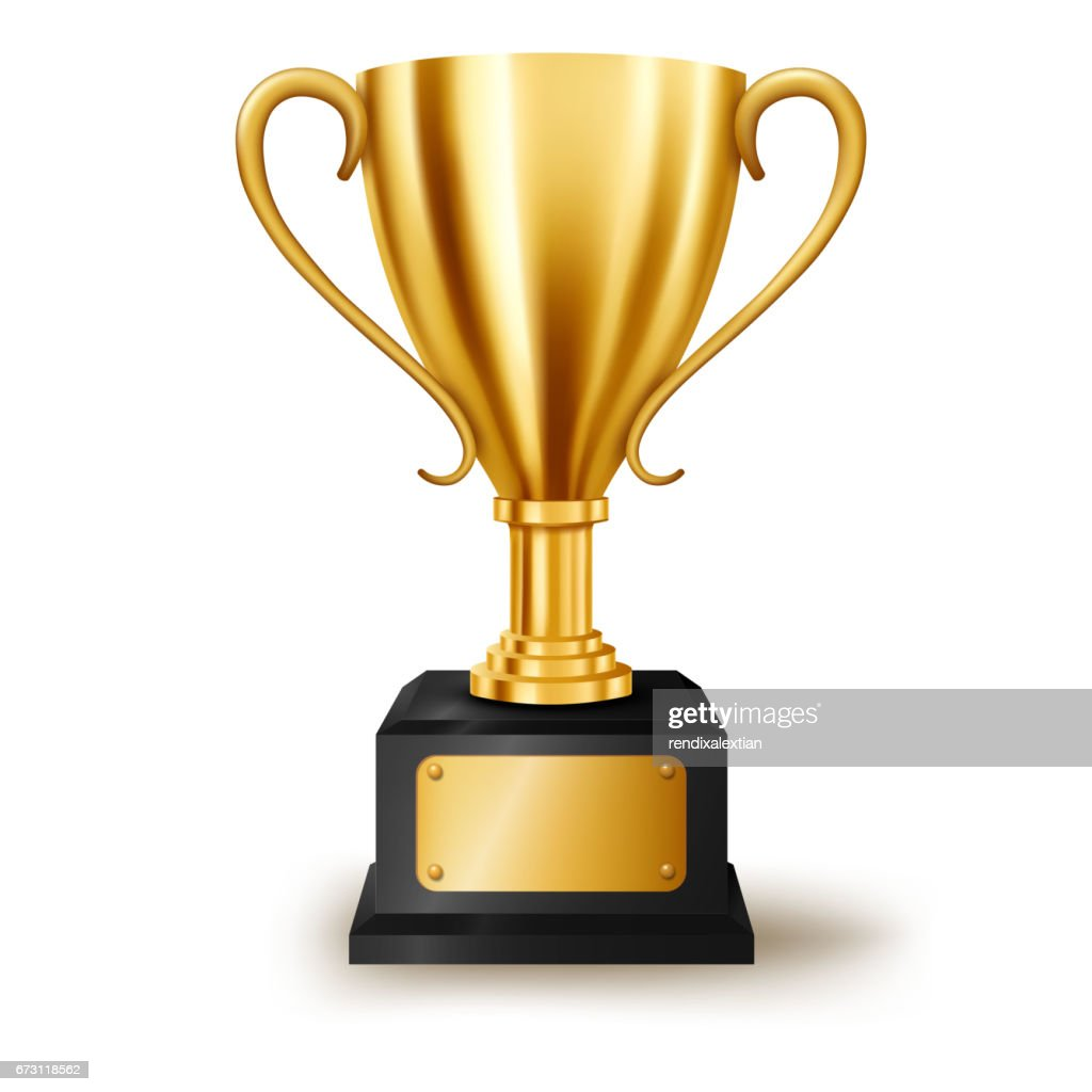 Realistic Golden Trophy with text space, Vector Illustration