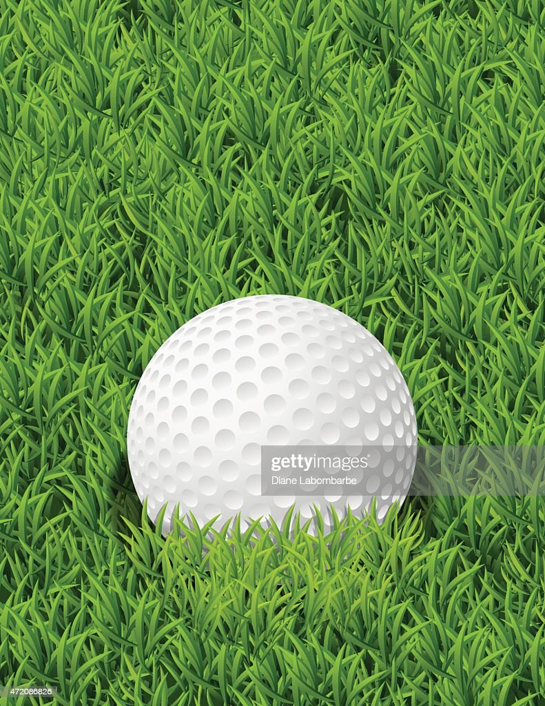 Realistic Golf Ball In The Grass With Copy Space : stock illustration