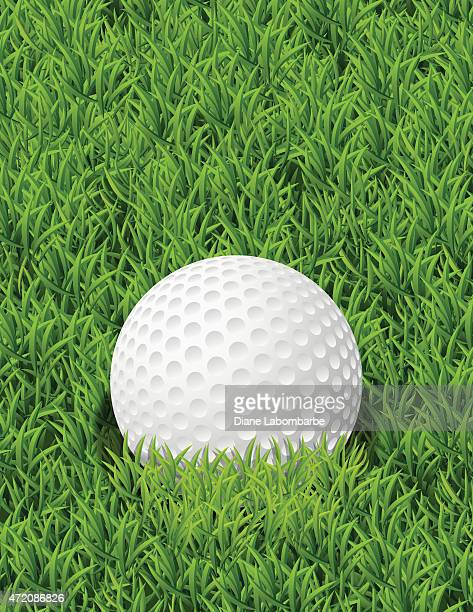 realistic golf ball in the grass with copy space - green golf course stock illustrations