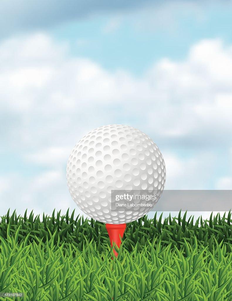 Realista bola de golfe na grama com espaço para texto  : Ilustração