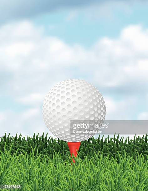realistic golf ball in the grass with copy space - golf tournament stock illustrations, clip art, cartoons, & icons