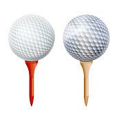 Realistic Golf Ball On Tee. Vector Isolated Illustration