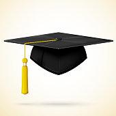 Realistic graduation cap with golden bob