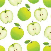 Realistic Green Apple Background Pattern on a White. Vector