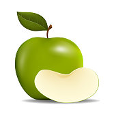 Realistic Green Apples with Green Leaf and Slice Apple , Vector Illustration , isolated on white background with copy space