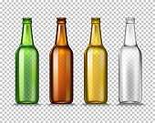 Realistic Green, brown, yellow and white empty glass beer bottles isolated on a transparent background. Vector illustration. Mock up template blank for product packing advertisement.