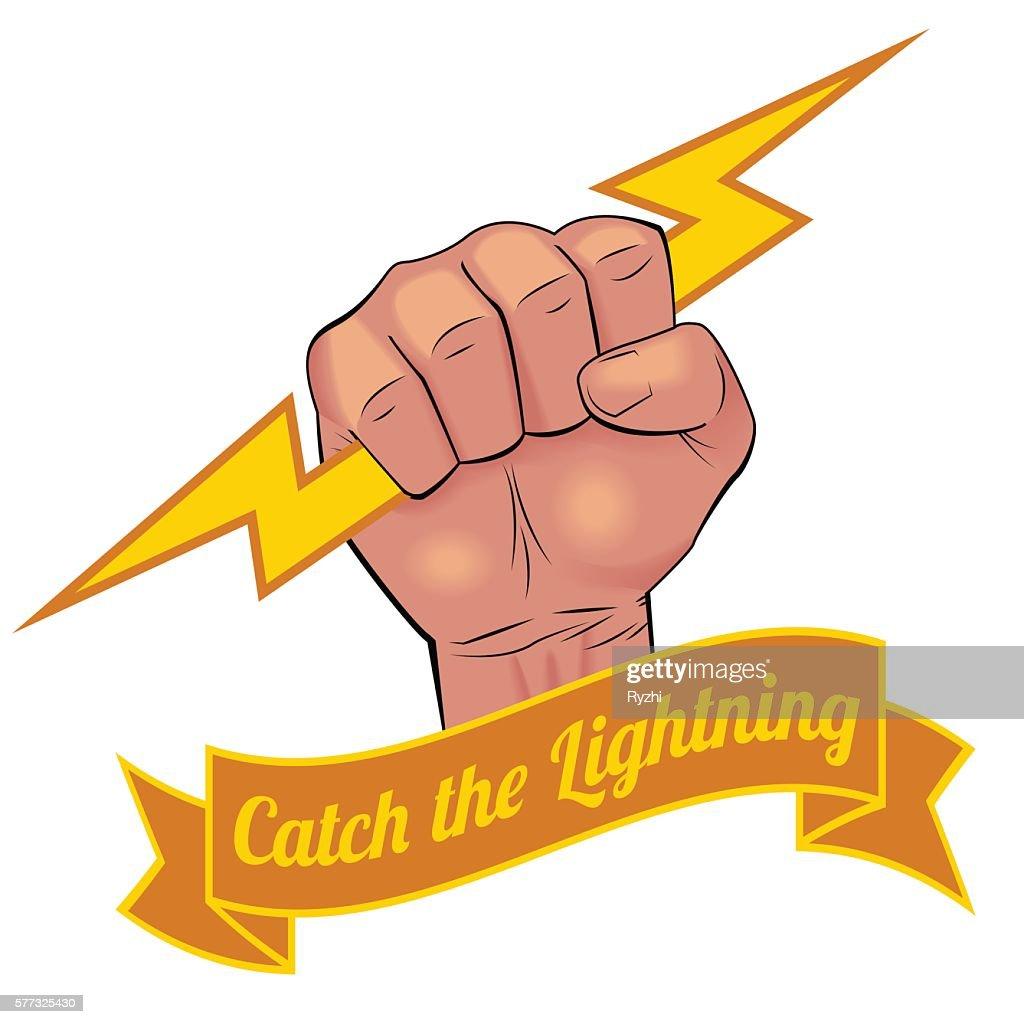 Realistic Hand Holding Lightning Bolt stock illustration - Getty Images