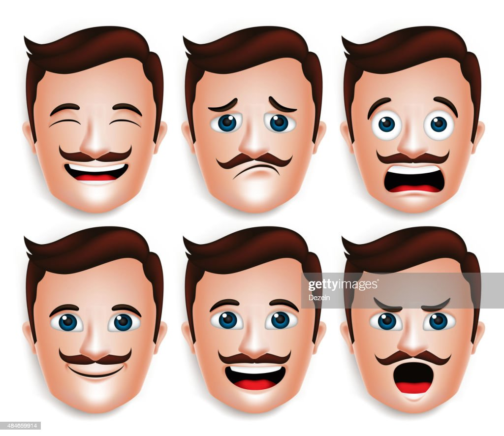 Realistic Handsome Man Head with Different Facial Expressions